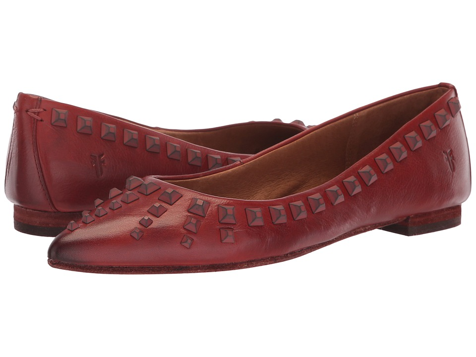 Frye Sienna Deco Stud Ballet (Red Clay Polished Soft Full Grain) Flats