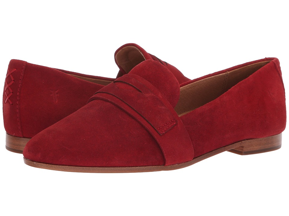 Frye Terri Penny Loafer (Red Suede) Women's Slip-on Dress Shoes