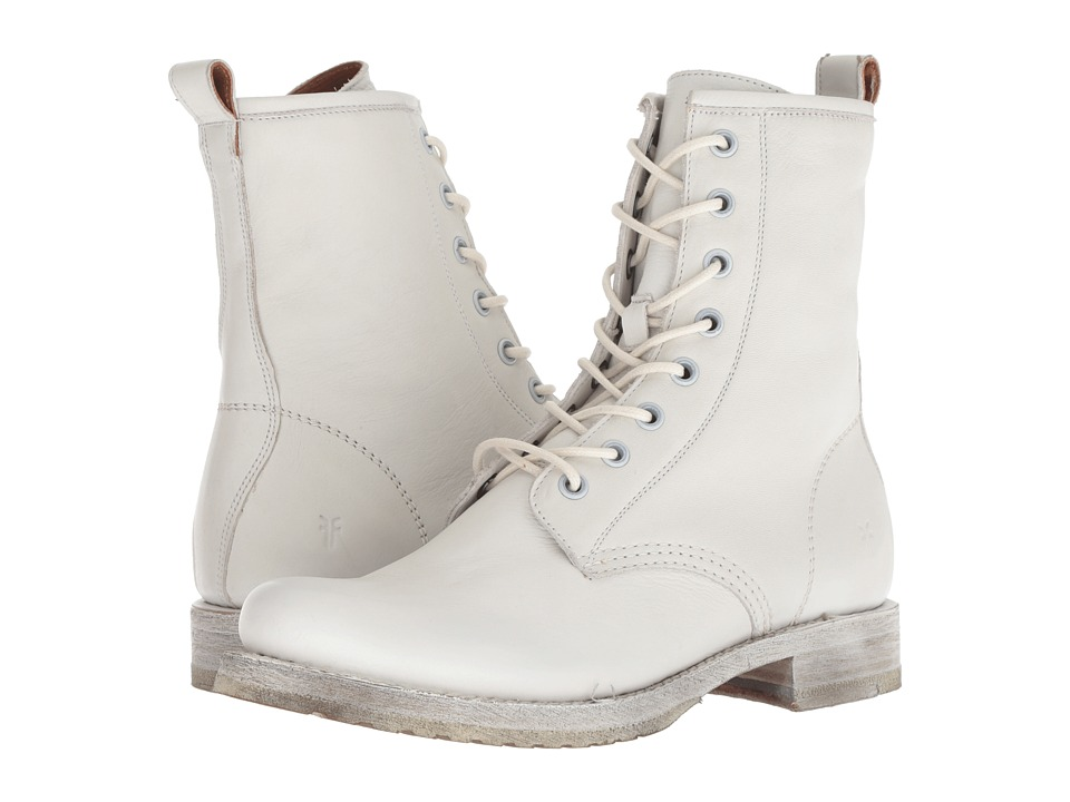 Frye Veronica Combat (White Waxed Full Grain) Women's Lace-up Boots