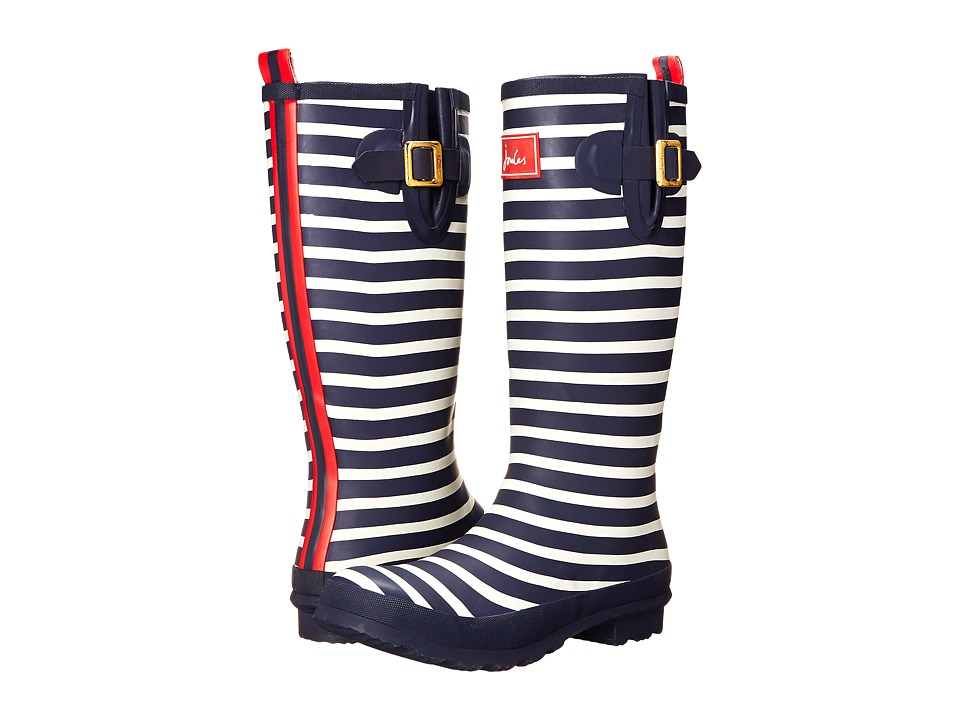 Joules - Tall Welly Print (French Navy Stripe Rubber) Womens Rain Boots