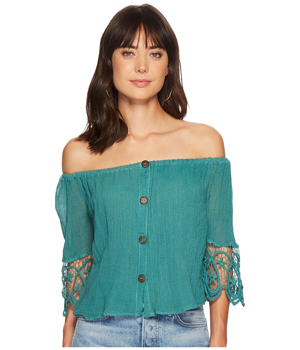 Jens Pirate Booty - Deco Fausta Top (Teal) Womens Clothing
