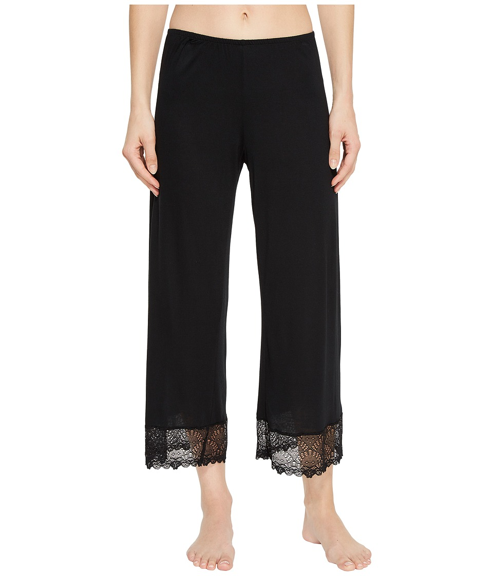 Only Hearts - Venice Cropped Pants w/ Lace Hem (Black) Womens Pajama