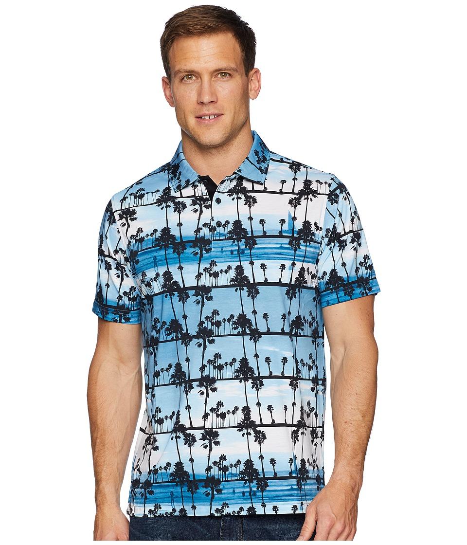 BUGATCHI - Short Sleeve Three-Button Knit (Navy) Mens Clothing
