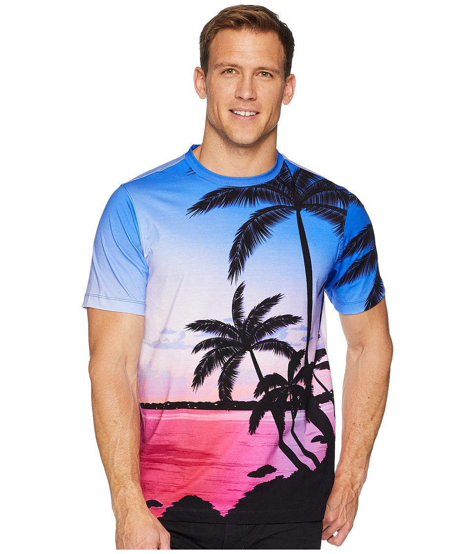 BUGATCHI - Short Sleeve Crew Neck T-Shirt (Amethyst) Mens T Shirt