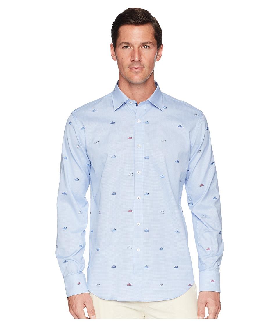 BUGATCHI - Shaped Fit Long Sleeve Woven Shirt (Classic Blue) Mens Clothing