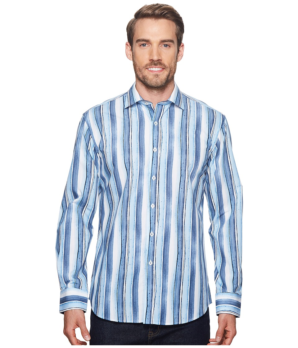 BUGATCHI - Shaped Fit Striped Woven Shirt (Slate) Mens Clothing