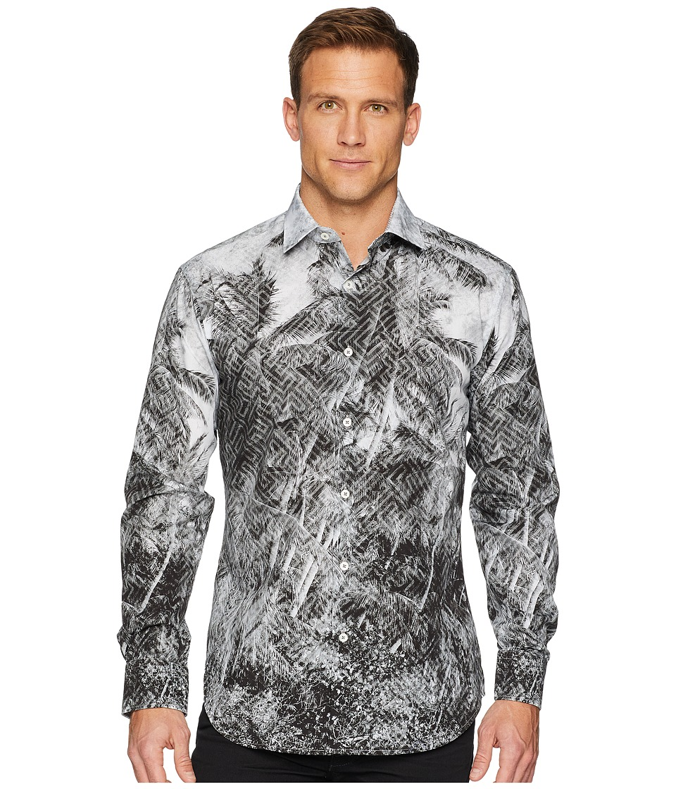 BUGATCHI - Shaped Fit Geo Palm Woven Shirt (Graphite) Mens Clothing