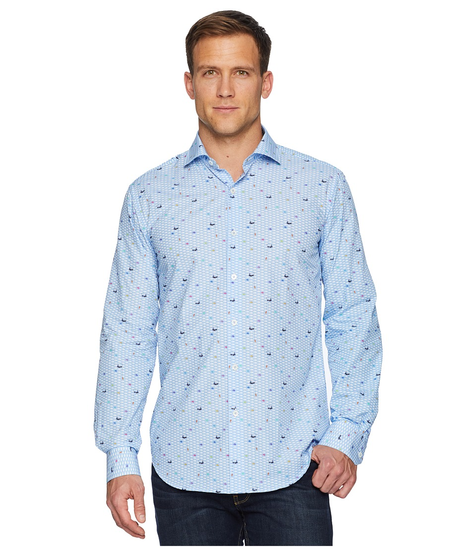 BUGATCHI - Long Sleeve Spread Collar Woven Shaped (Air Blue) Mens Clothing