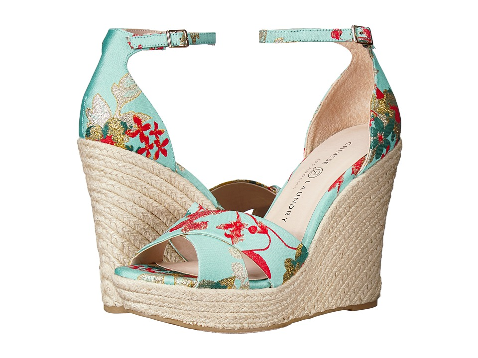 Chinese Laundry - Morgan (Teal Garden Fabric) Womens Wedge Shoes