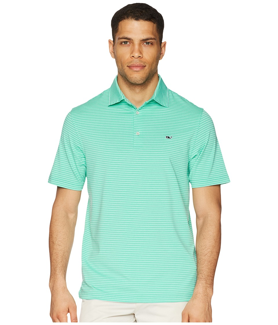 Vineyard Vines Golf - Heathered Wilson Stripe Performance Polo (Antigua Green) Mens Clothing