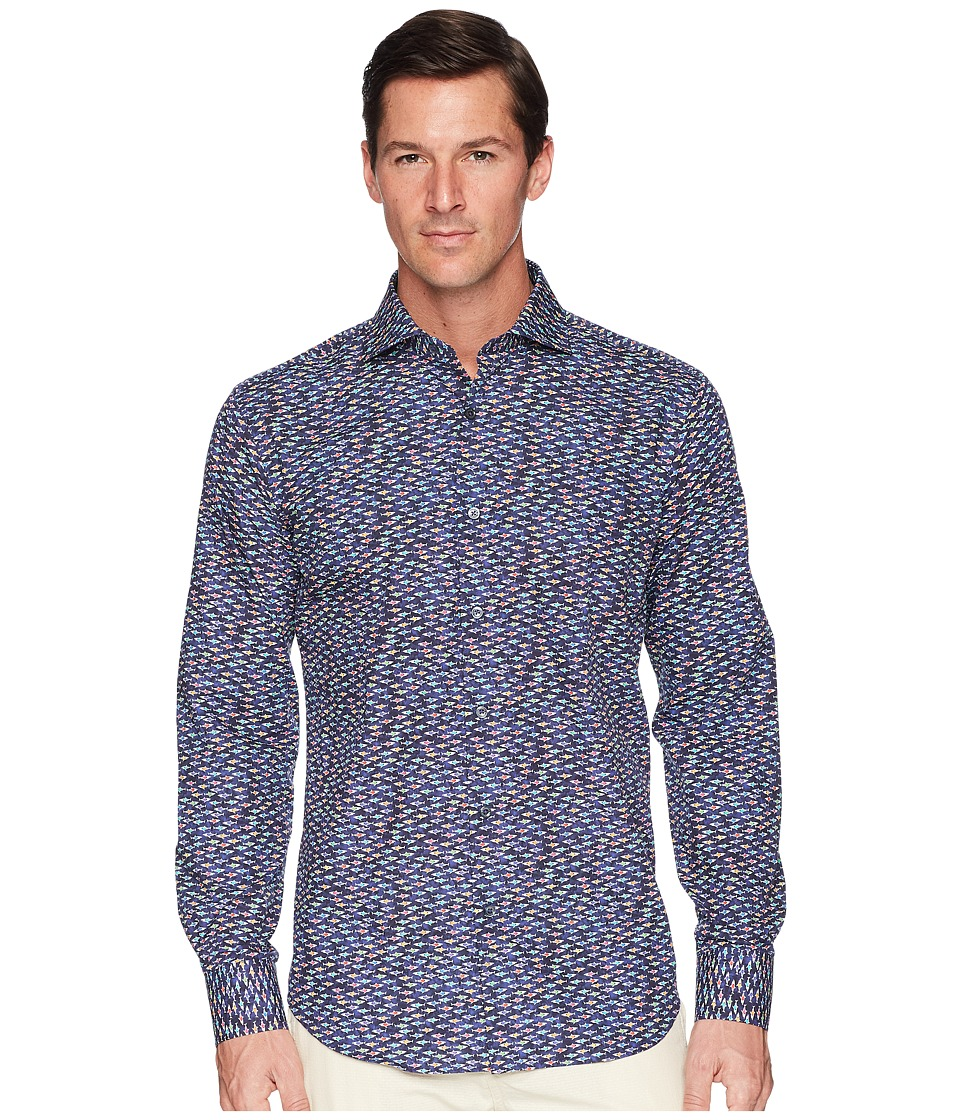 BUGATCHI - Shaped Fit Long Sleeve Woven Shirt (Navy) Mens Clothing