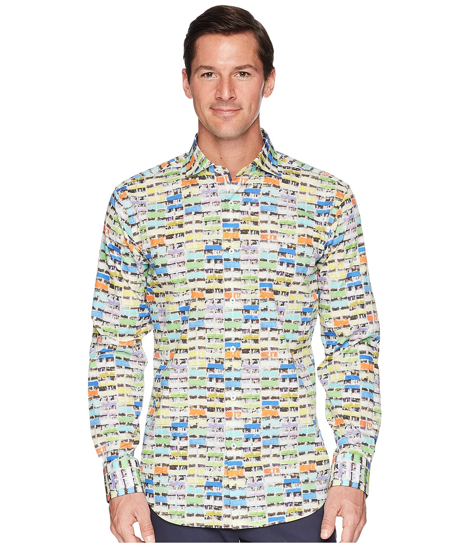 BUGATCHI - Shaped Fit Long Sleeve Woven Shirt (Candy) Mens Clothing