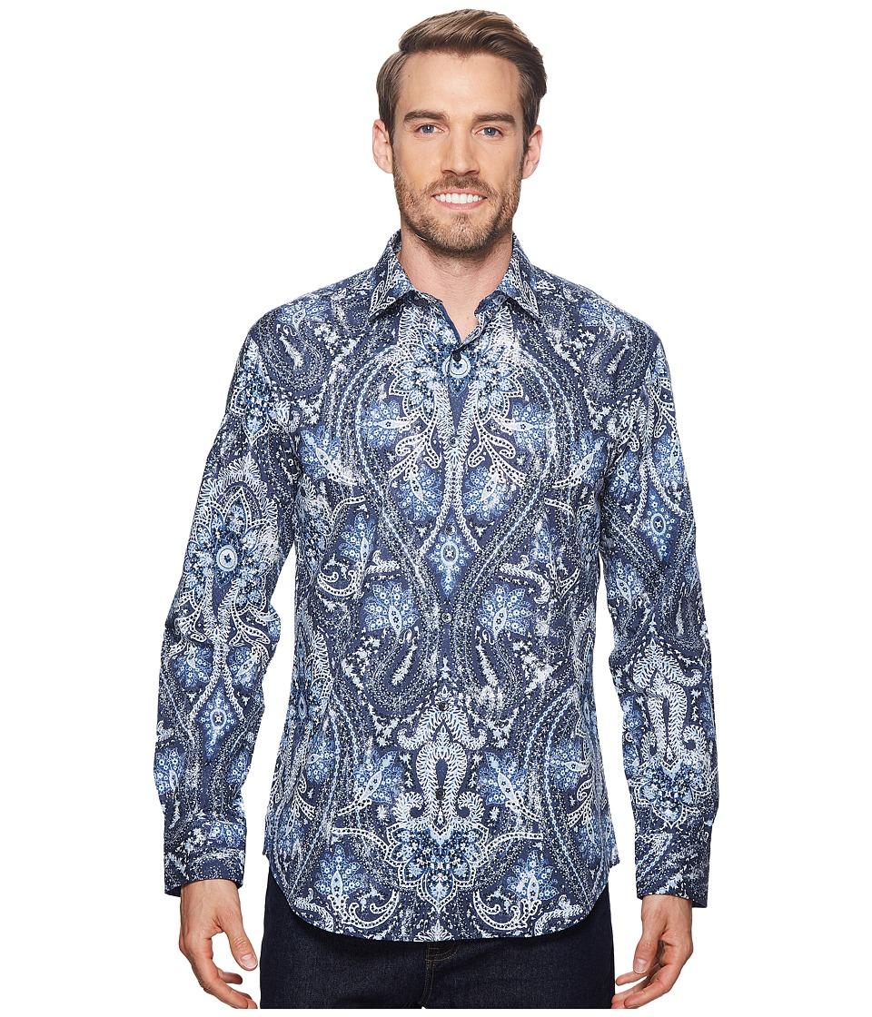 BUGATCHI - Shaped Fit Paisley Woven Shirt (Midnight) Mens Clothing