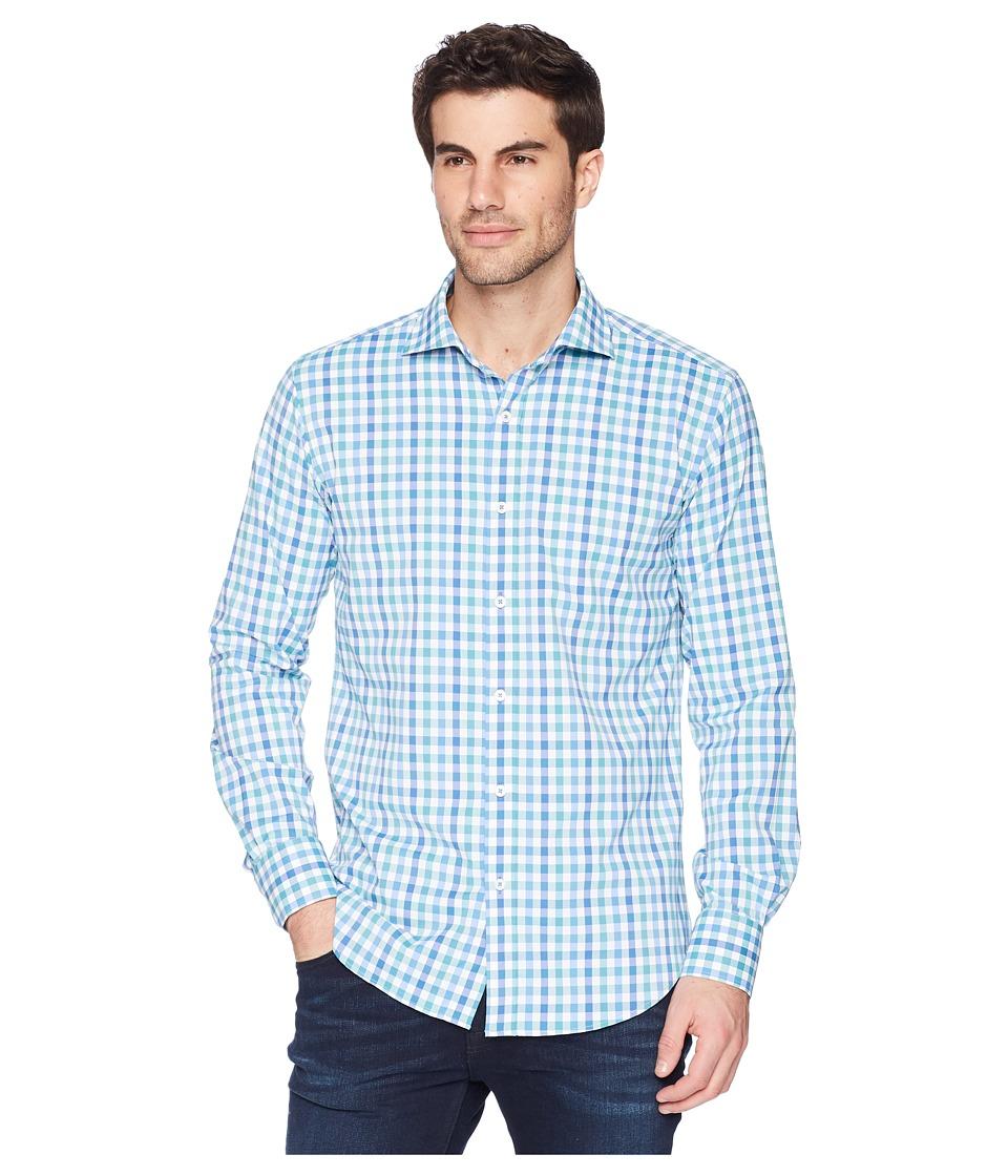 BUGATCHI - Shaped Fit Plaid Woven Shirt (Paradise) Mens Clothing