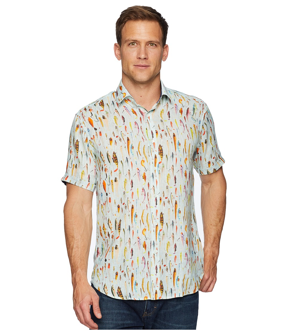 BUGATCHI - Short Sleeve Point Collar Woven Shaped (Mint) Mens Clothing