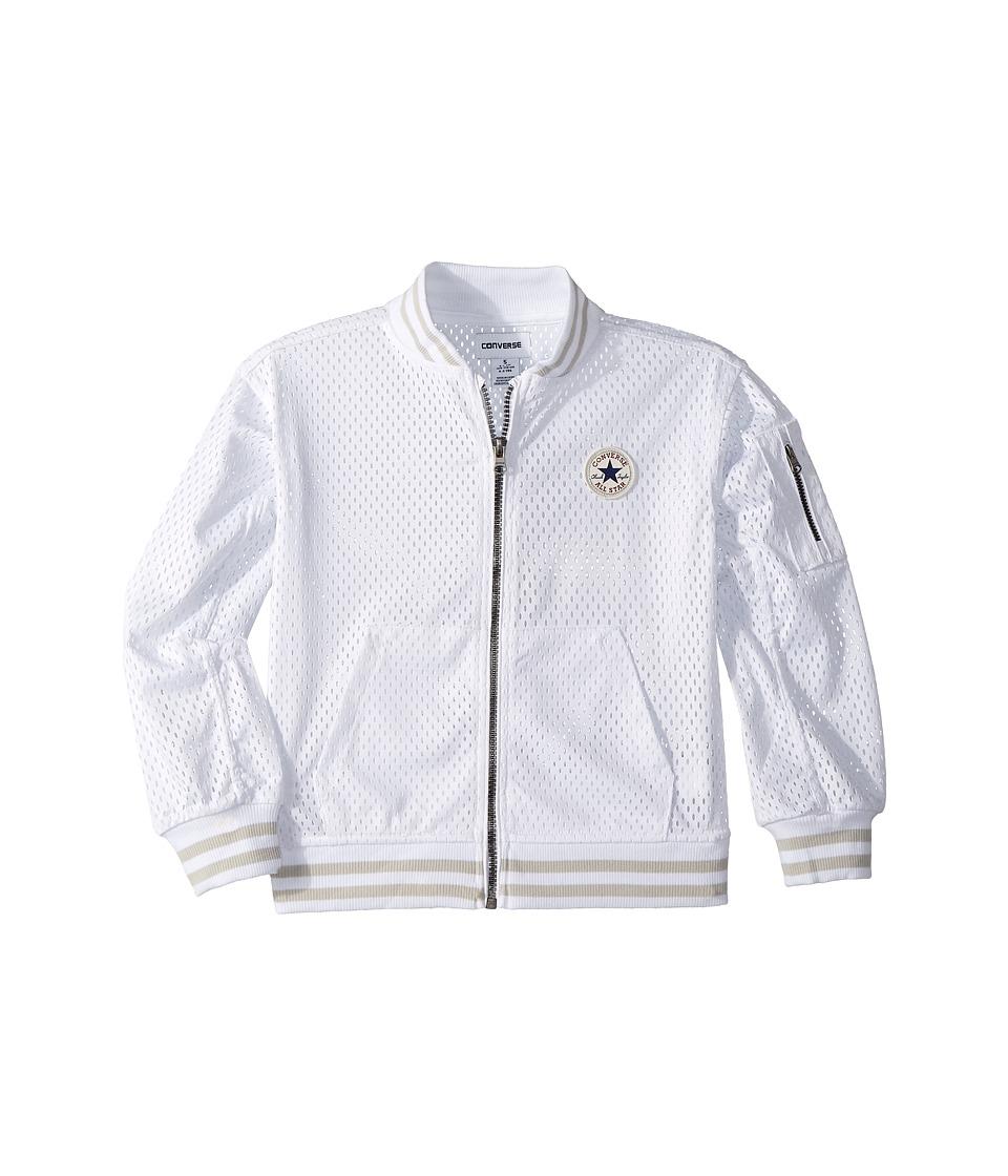 Converse Kids - Mesh Bomber (Little Kids) (White) Girls Coat