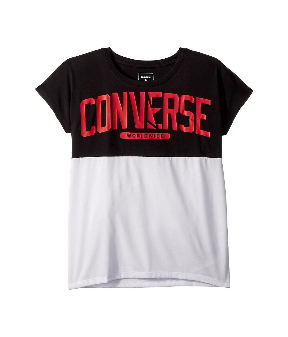 Converse Kids - Splice Tee (Big Kids) (Black) Girls Clothing