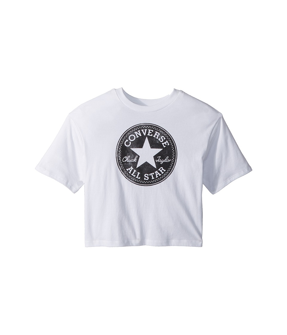 Converse Kids - Feather Chuck Patch Print Fill Tee (Big Kids) (White) Girls T Shirt