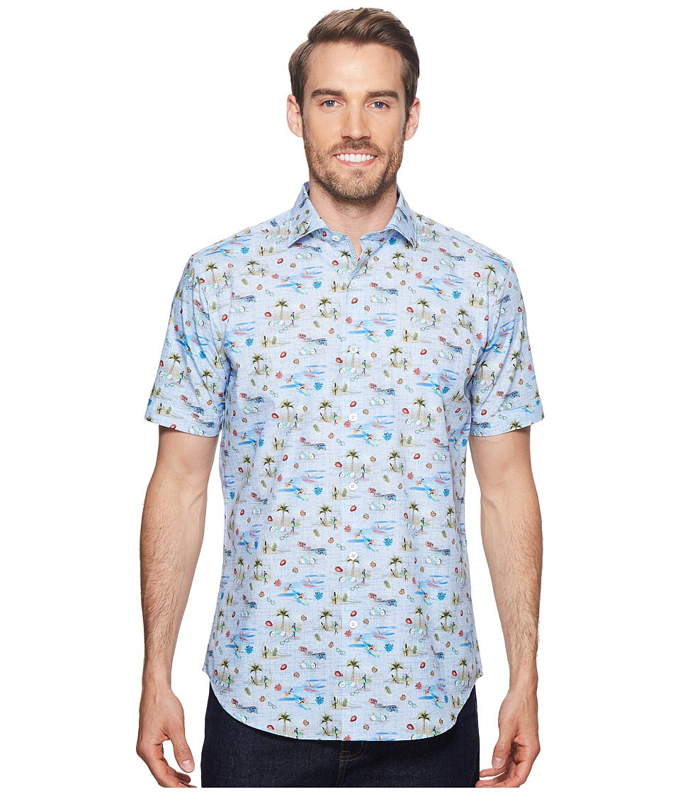 BUGATCHI - Shaped Fit Vacation Mode Woven Shirt (Dusty Blue) Mens Short Sleeve Button Up