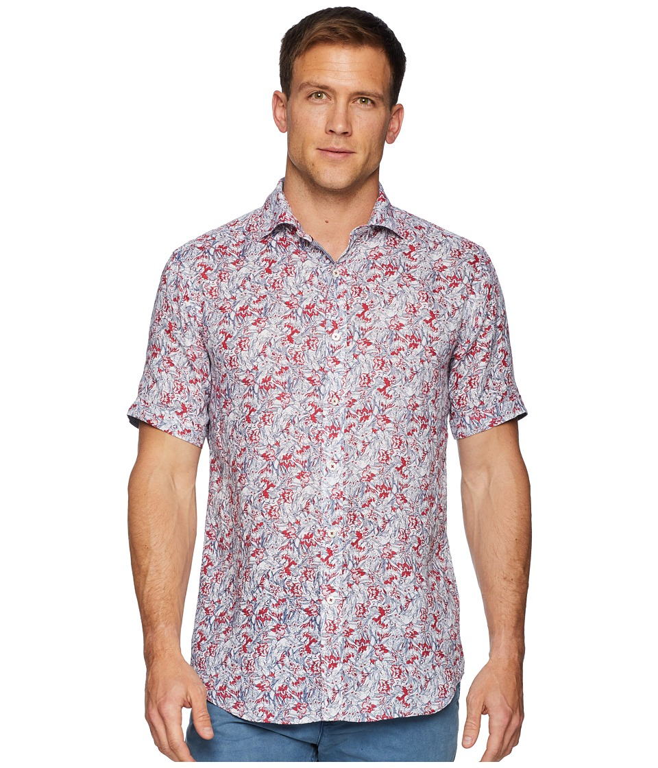 BUGATCHI - Short Sleeve One-Piece Spread Collar Woven Shaped (Pimento) Mens Clothing