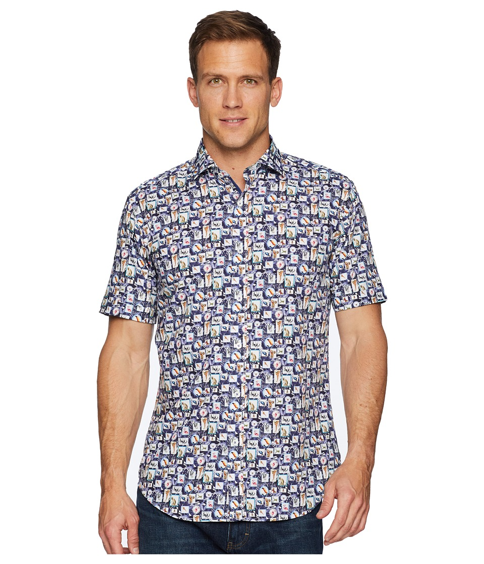 BUGATCHI - Short Sleeve One-Piece Spread Collar Woven Shaped (Night Blue) Mens Clothing