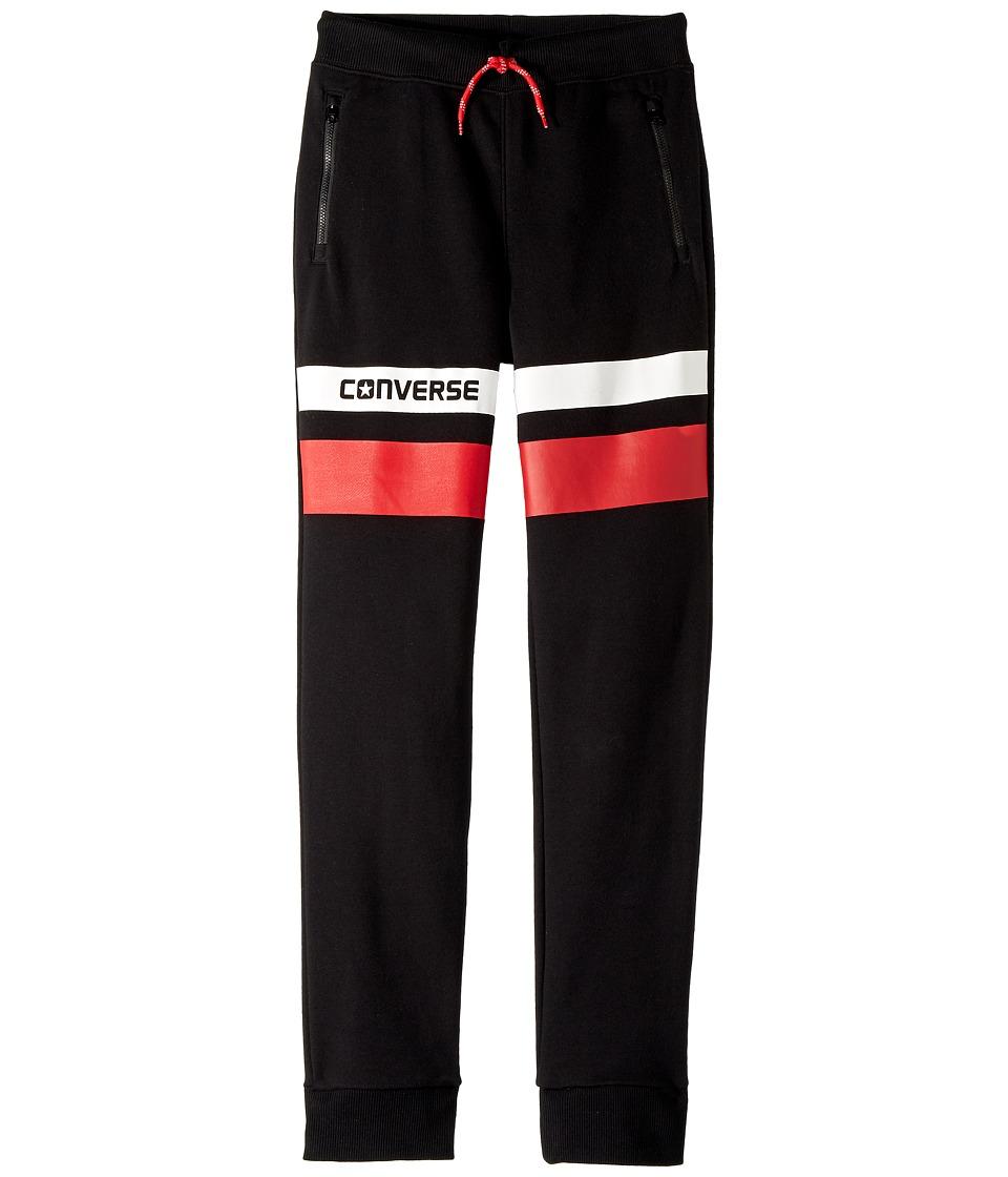 Converse Kids - Color Blocked Slim Fit Jogger (Big Kids) (Black) Boys Casual Pants