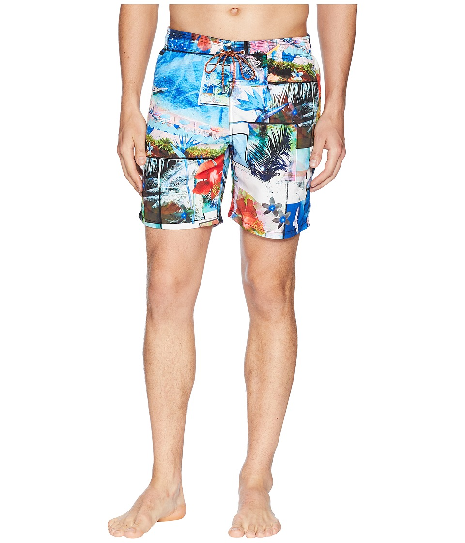 BUGATCHI - Paradise Collage Swim Trunk (Ocean) Mens Swimwear