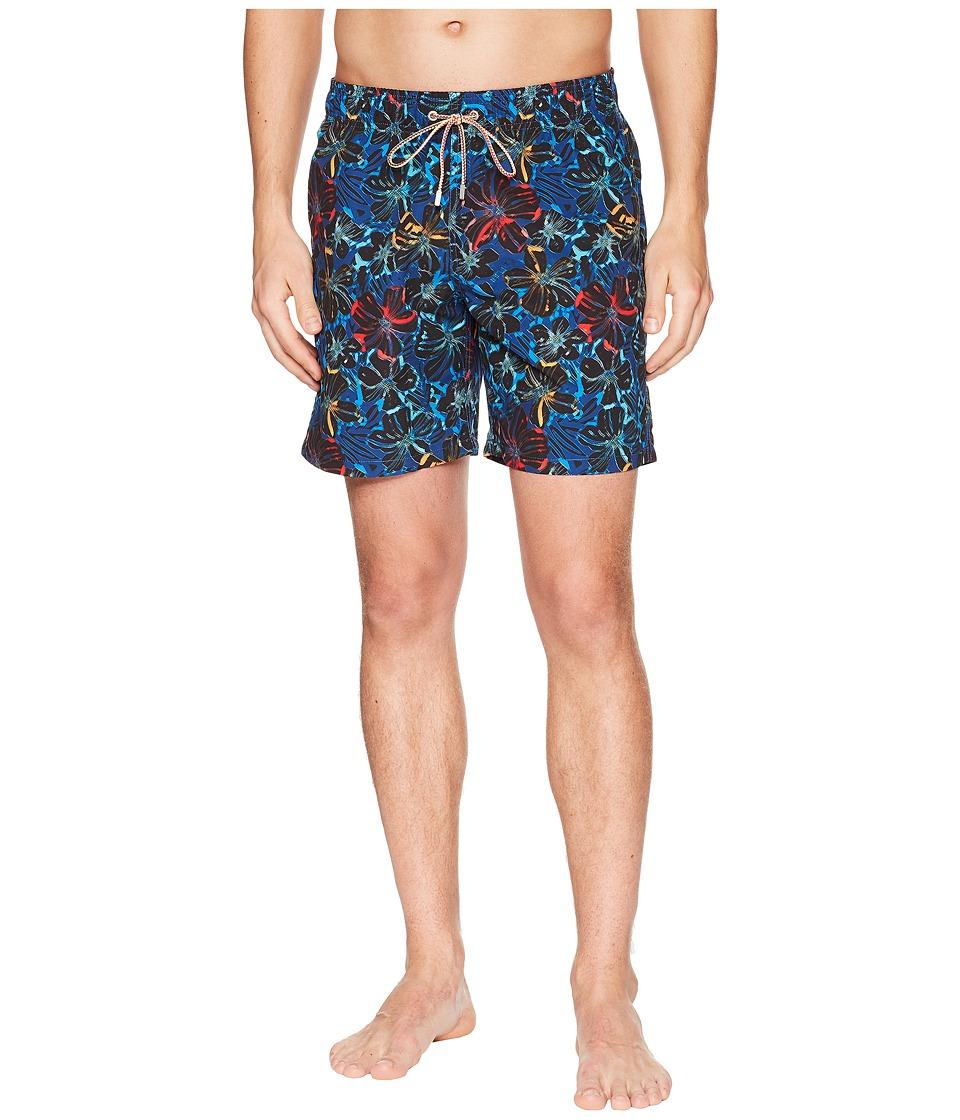 BUGATCHI - Floral Swim Trunk (Midnight) Mens Swimwear