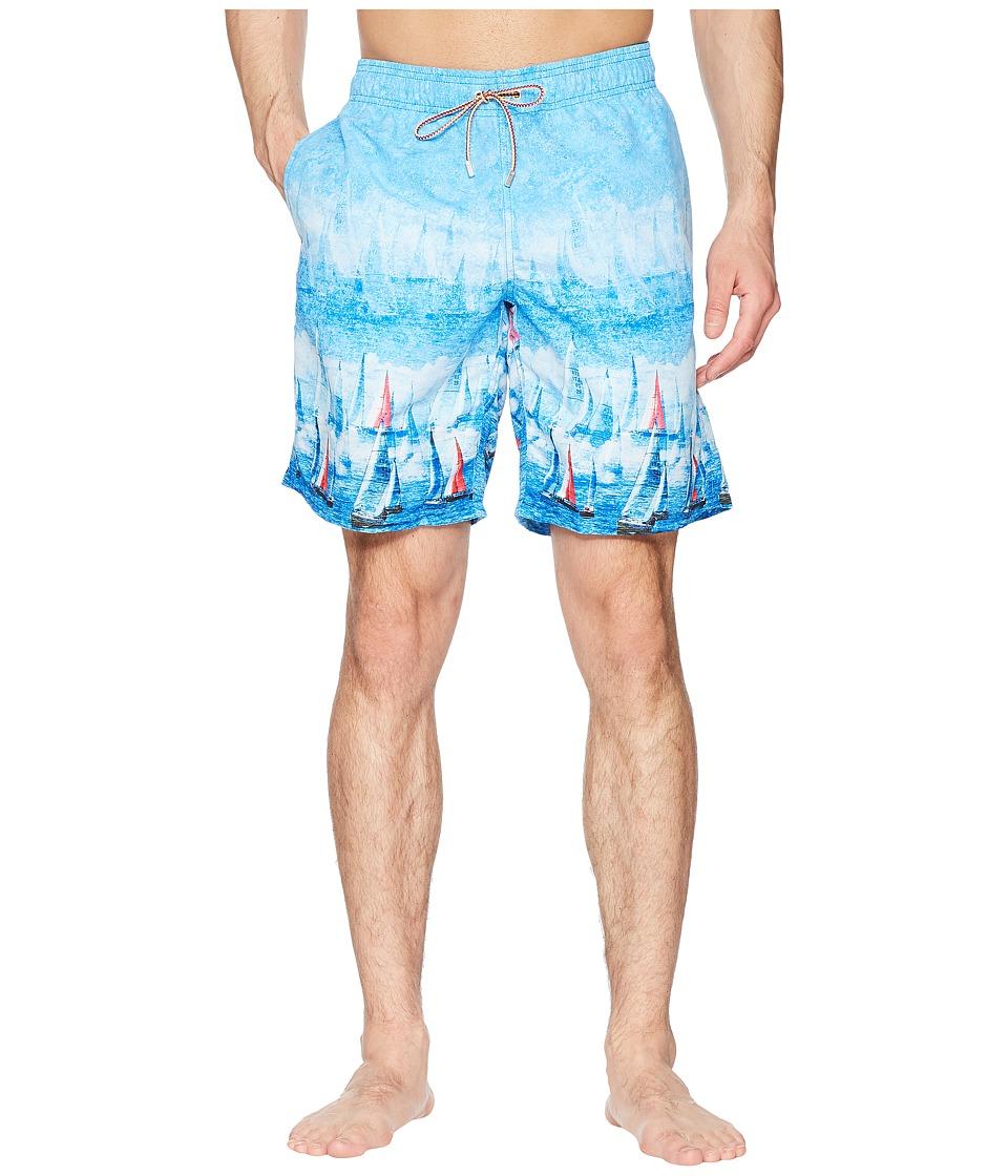BUGATCHI - Sailboat Swim Trunk (Sky) Mens Swimwear