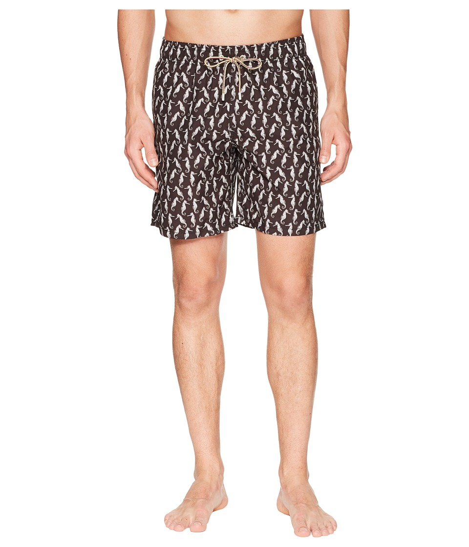 BUGATCHI - Seahorse Swim Trunk (Black) Mens Swimwear