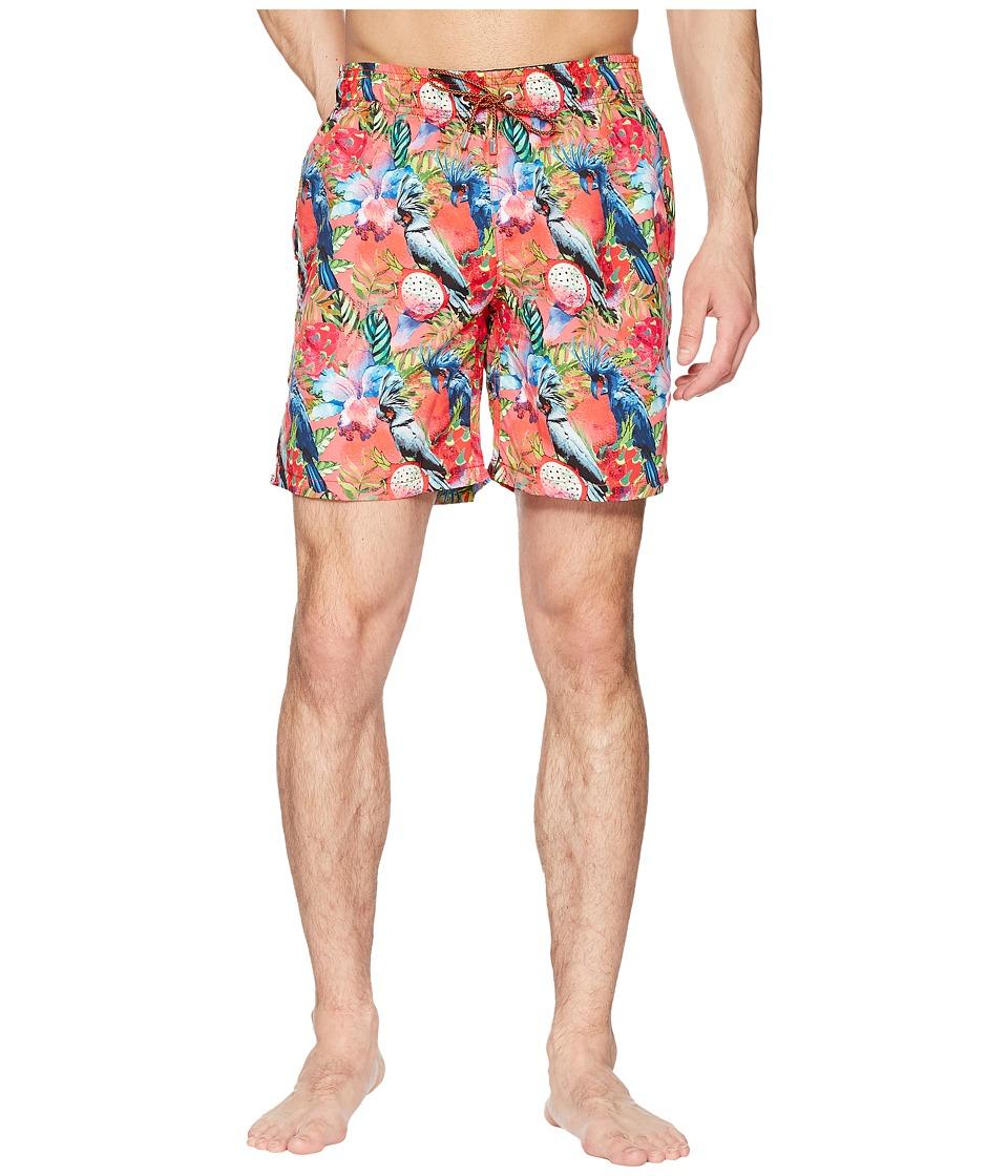 BUGATCHI - Tropical Print Swim Trunk (Coral) Mens Swimwear
