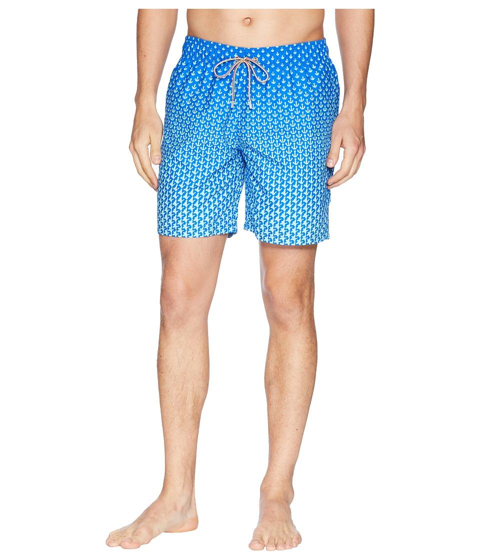 BUGATCHI - Anchor Star Swim Trunk (Turquoise) Mens Swimwear