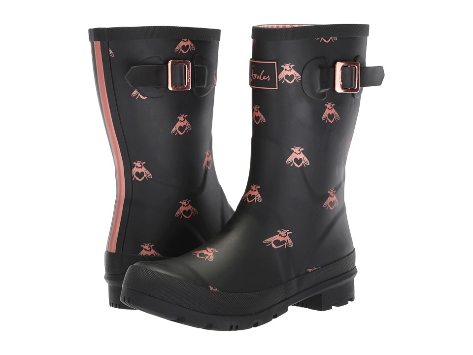Joules Mid Molly Welly (Black Love Bees Rubber) Women's Rain Boots