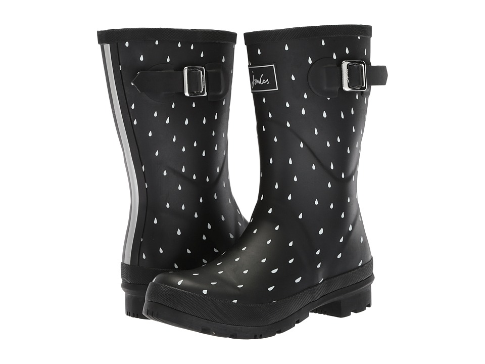 Joules Mid Molly Welly (Black Raindrops Rubber) Women's Rain Boots