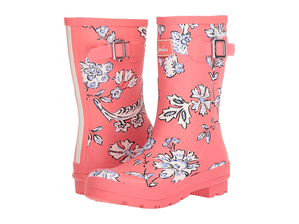 Joules Mid Molly Welly (Red Indienne Floral Rubber) Women's Rain Boots