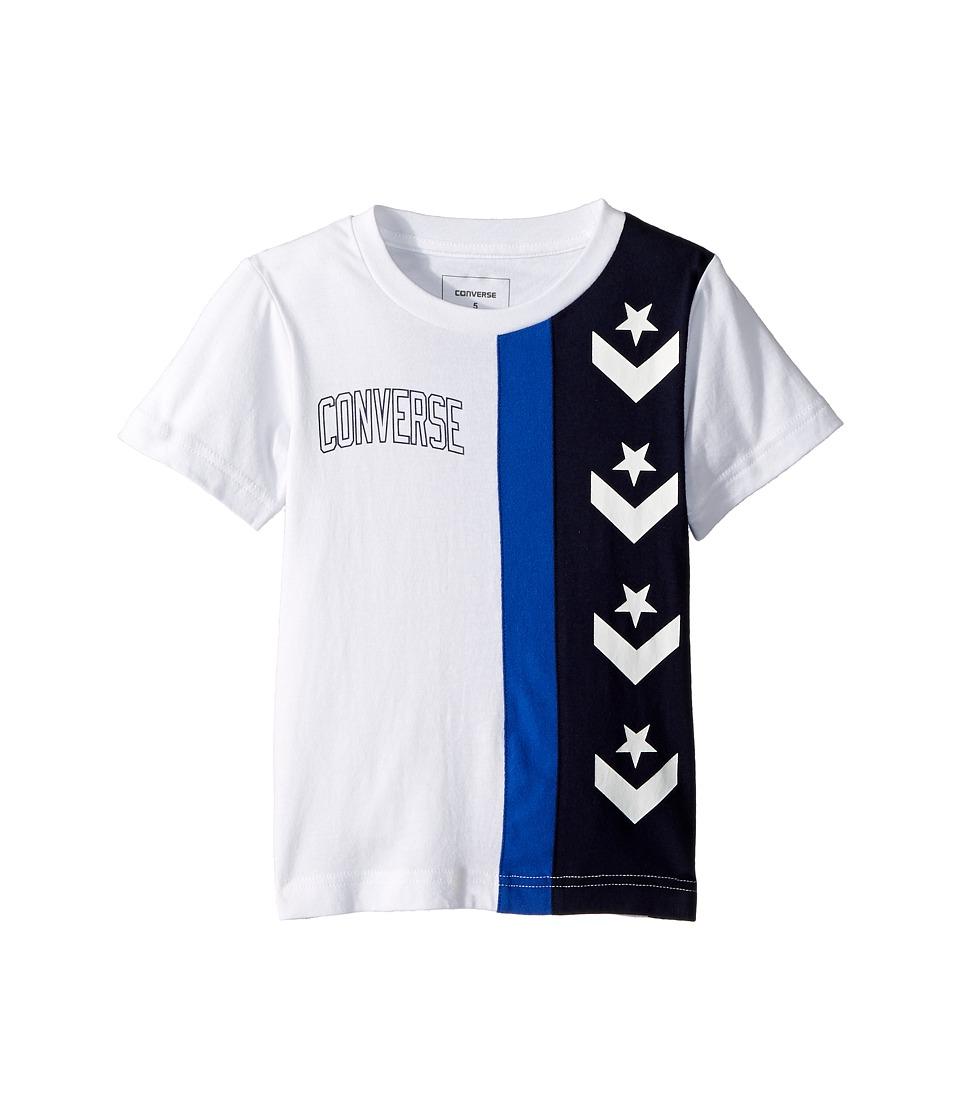 Converse Kids - Star Chevron Stripe Tee (Little Kids) (White) Boys Clothing