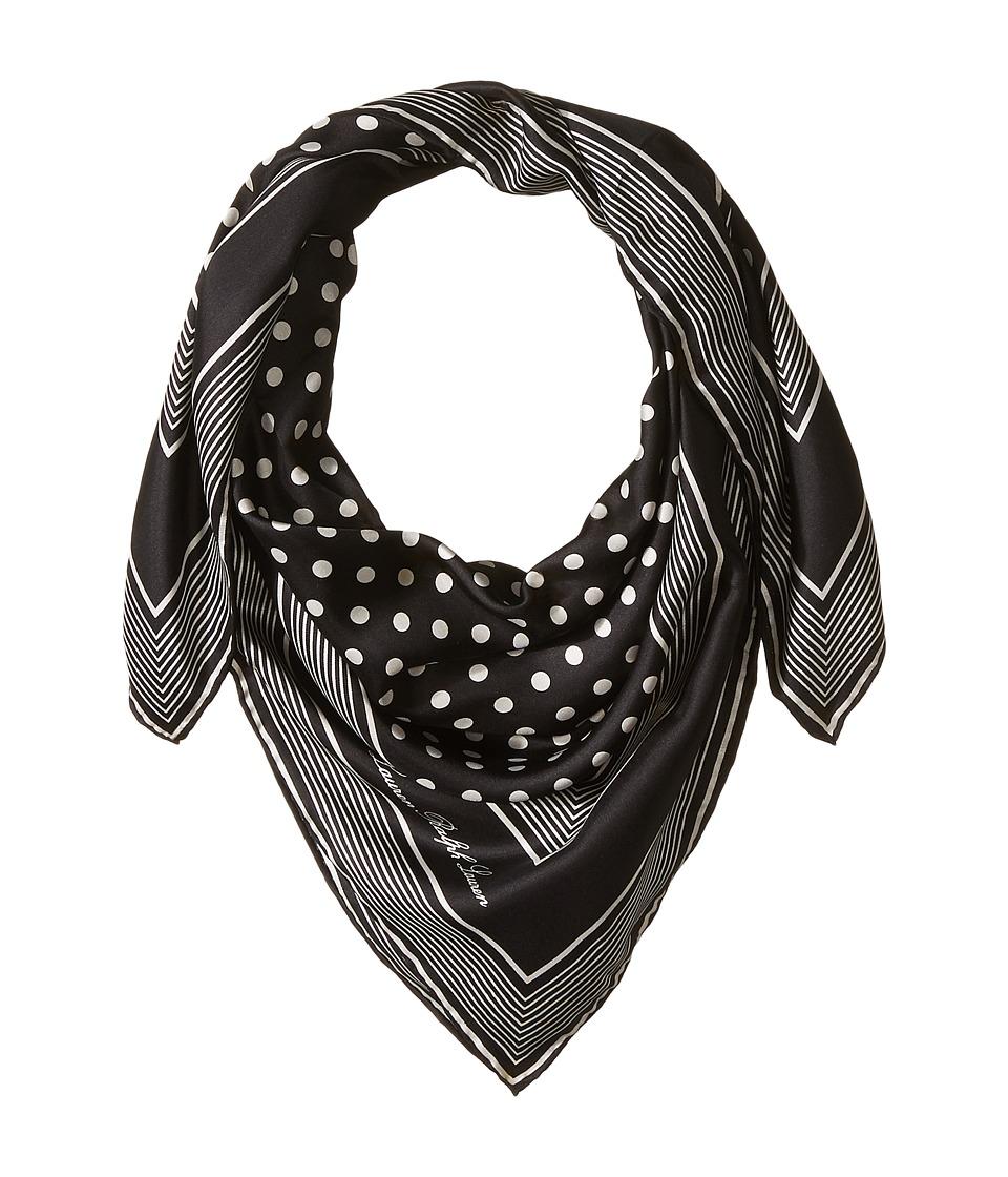 LAUREN Ralph Lauren - Anna Silk Square Scarf (Black) Scarves