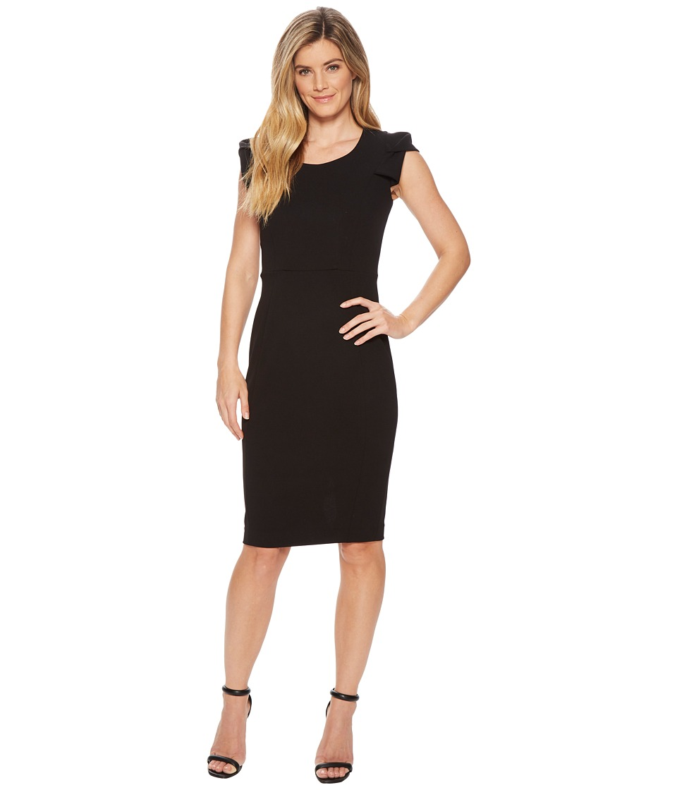 Calvin Klein - Folded Puff Sleeve Scoop Neck Sheath CD8C12JL (Black) Womens Dress