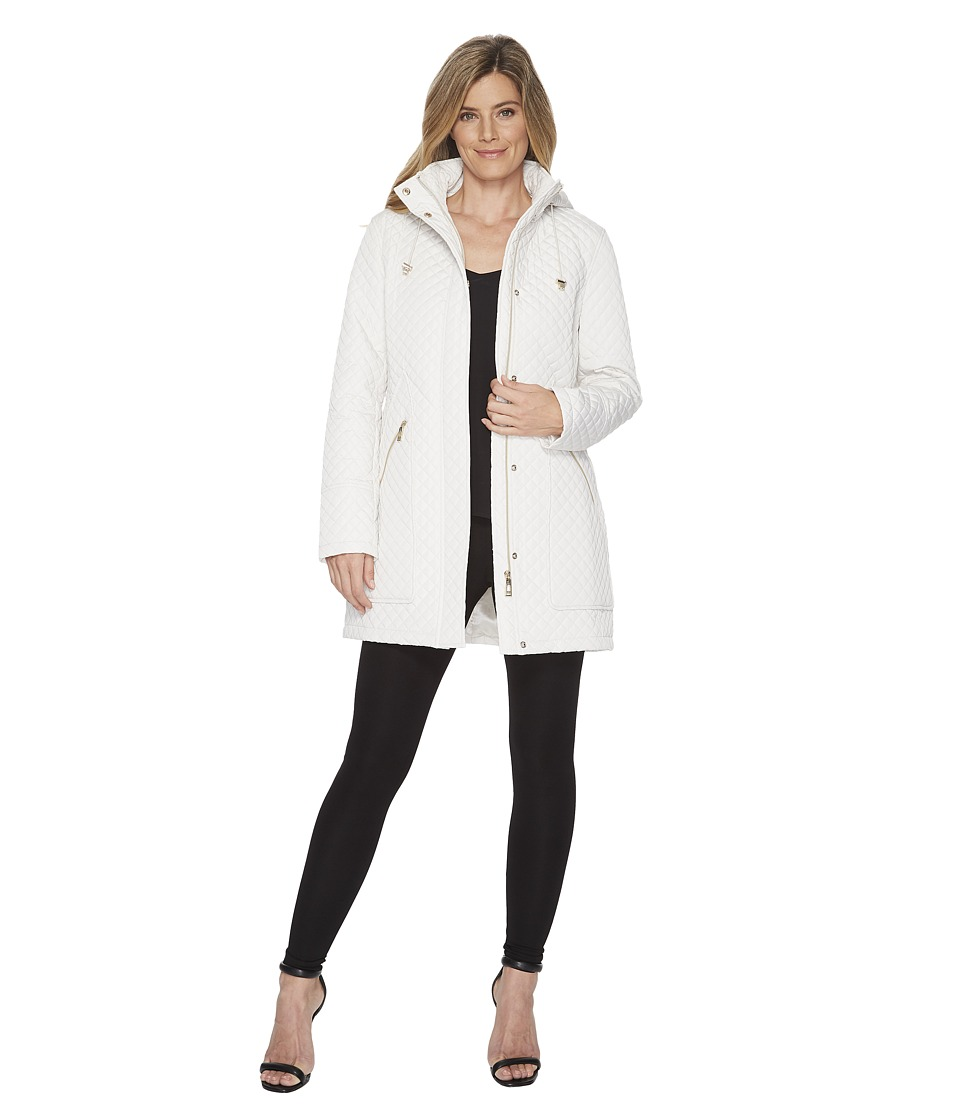 Ivanka Trump Oversized Pocket Hooded Quilted Coat (Pearl)...