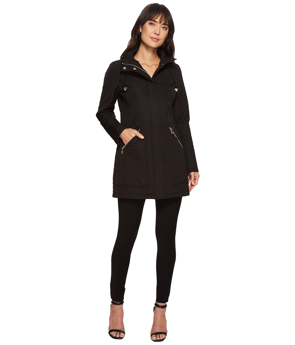 Ivanka Trump Oversized Pocket Hooded Quilted Coat (Black)...