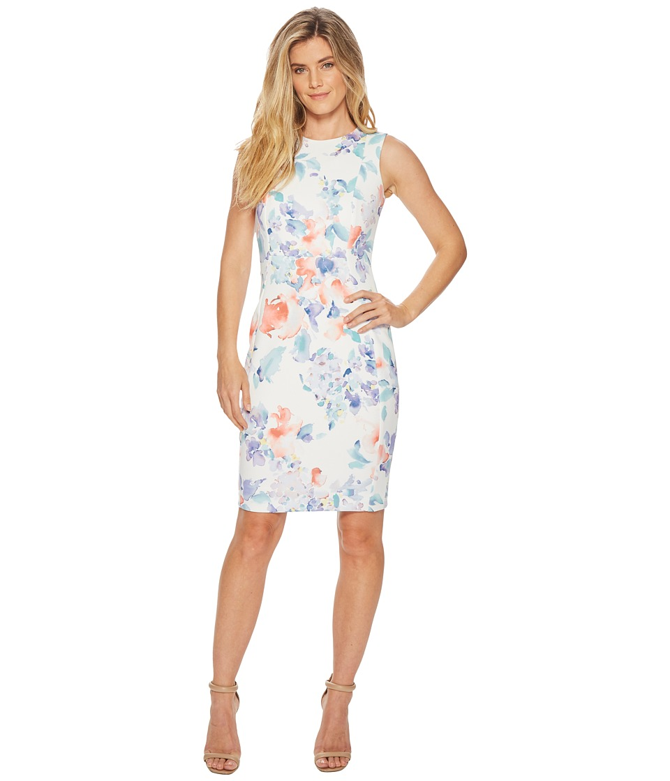 Calvin Klein - Floral Print Sheath CD8MG7EH (Opal Multi) Womens Dress