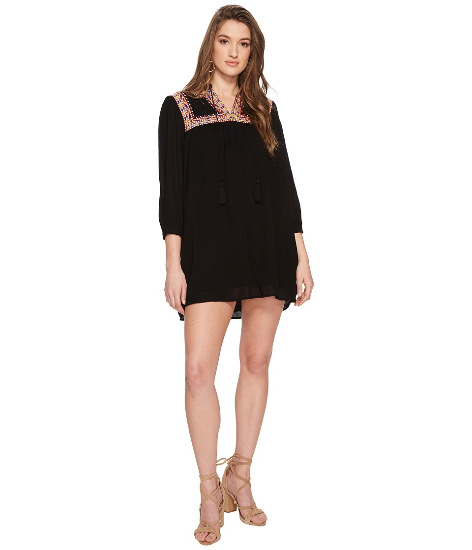 Jack by BB Dakota - Saenz Embroidered Neck and Yoke Dress (Black) Womens Dress