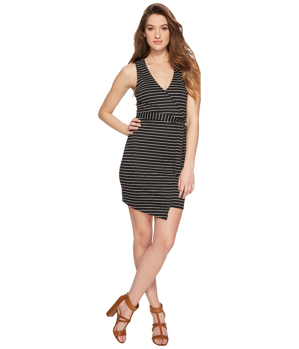Jack by BB Dakota - Toni Stripe Asymmetrical Wrap Dress (Black) Womens Dress