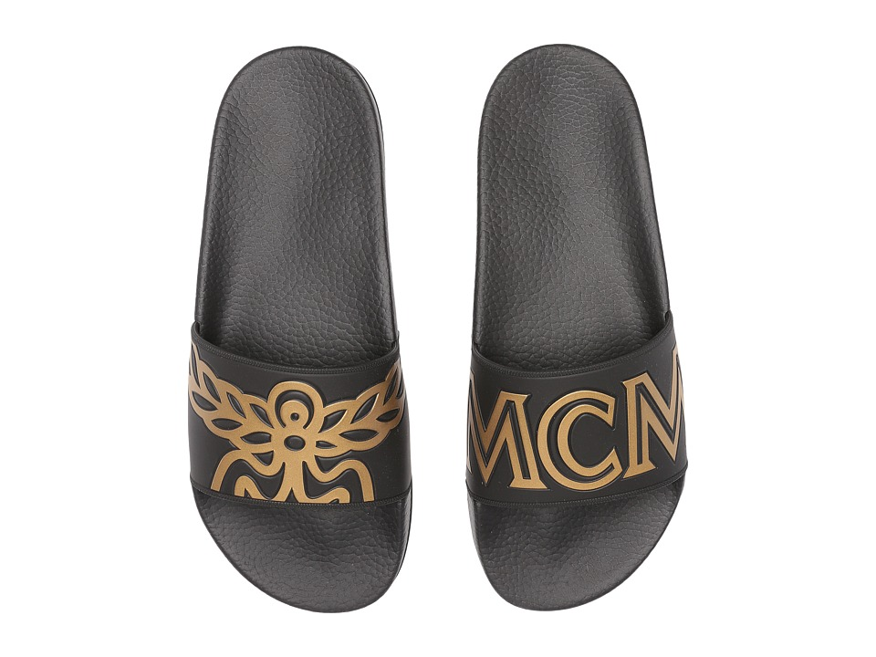 MCM - Logo Rubber Slide Sandal (Black) Mens Slide Shoes