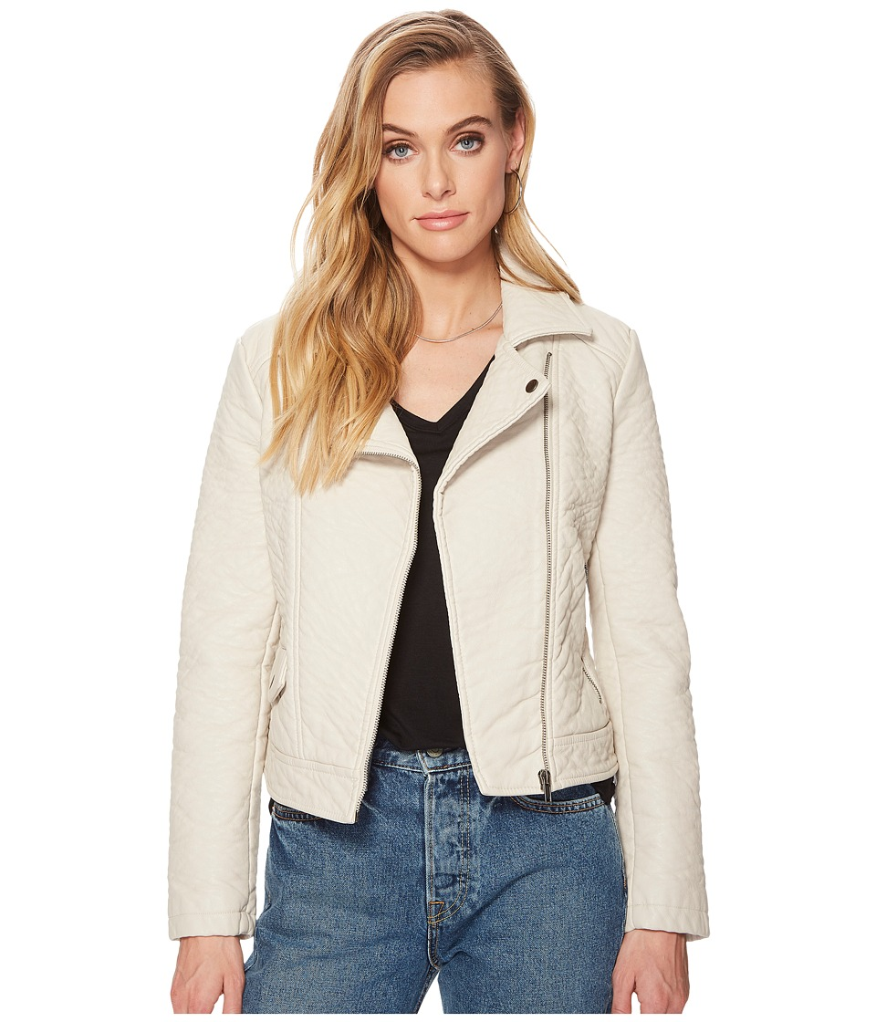 Jack by BB Dakota - Menton Rippled Vegan Leather Jacket (Bone White) Womens Coat