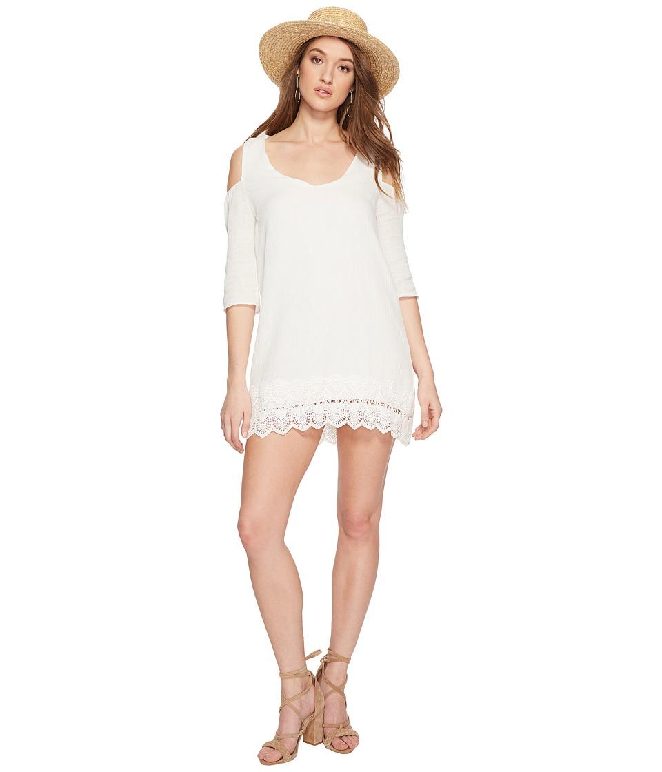 Jack by BB Dakota - Stefani Cotton Gauze Dress with Scallop Lace Hem (Off-White) Womens Dress
