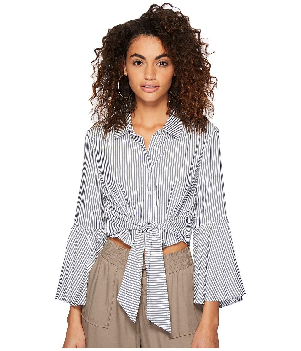 Jack by BB Dakota - Penka Boyfriend Stripe Bell Sleeve Button Up Top (Off-White) Womens Clothing