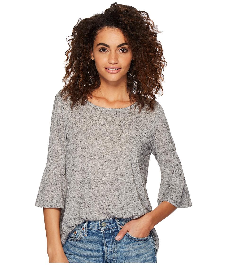 Jack by BB Dakota - Delle Linen Blend Jersey Top (Light Heather Grey) Womens Clothing