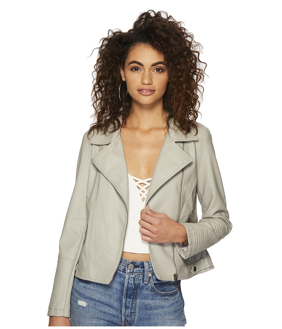 Jack by BB Dakota - Laren Washed Crinkled Vegan Leather Moto Jacket (Ghost Grey) Womens Coat