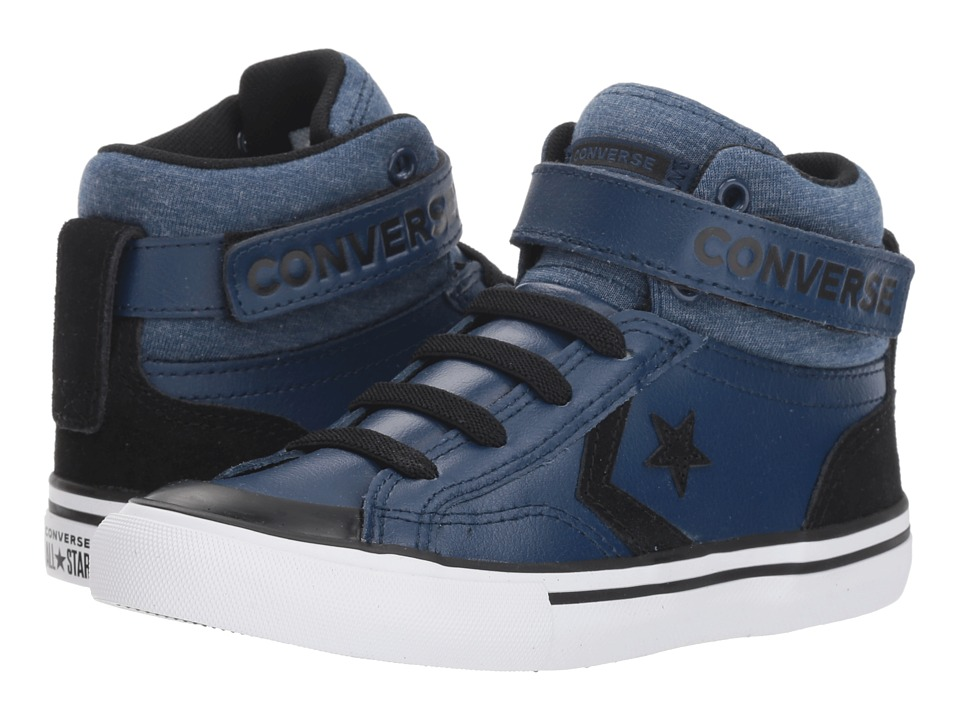 Converse Kids Pro Blaze Strap Hi (Little Kid/Big Kid) (Navy/Black/White) Boys Shoes
